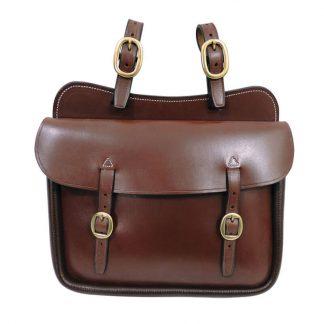 Tanami leather Q1 large square saddle bag - brass