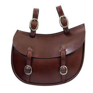 Tanami leather Q1 oval saddle bag - chrome plated brass