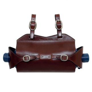Tanami leather double water carrier - chrome plated brass