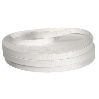 White cotton webbing with 5% nylon