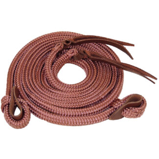 TS Pro Series Rope Campdraft Reins Copper Brown