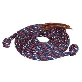 TS Pro Series Rope Split Reins w/Loop Ends - Navy/Red/White