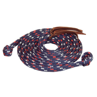 TS Pro Series Rope Split Reins w/Loop Ends - Navy/Red/White