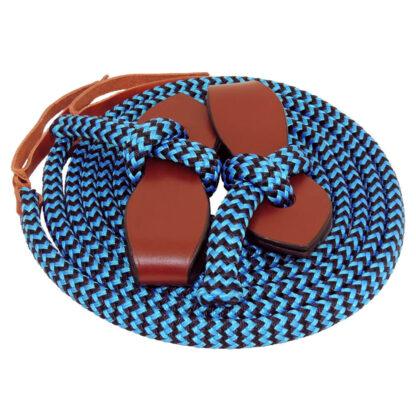 TS Pro Series Rope Split Reins with slobber strap - Blue/Black