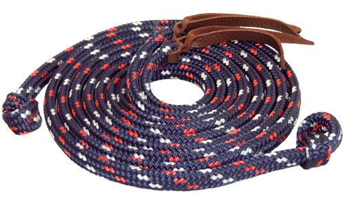 TS Pro Series Rope reins with loop ends Blue/Red/White