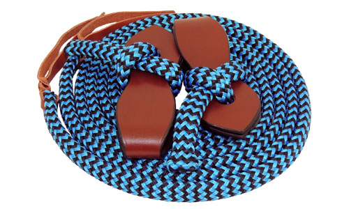 TS Pro Series Rope reins with slobber straps - Blue/Black